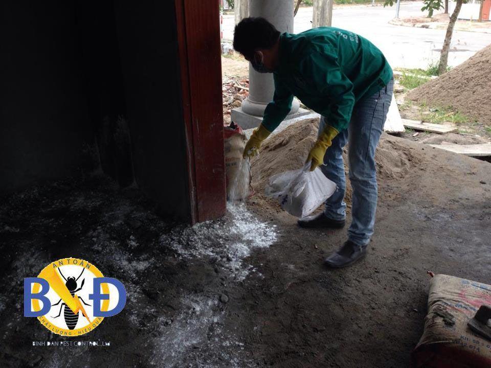 Nhân viên Công ty diệt mối uy tín Bình Đan tiến hành phòng chống mối nhà ở